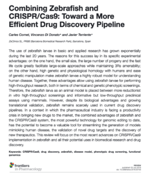 Publication - Combining Zebrafish and CRISPR/Cas9: Toward a More Efficient Drug Discovery Pipeline